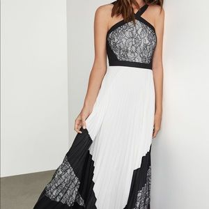 BCBG Black and White Pleated Gown With Lace NWT
